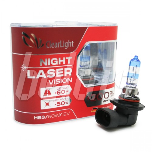 Лампы галогенные «ClearLight» HB3 Night Laser Vision +200% (12V-60W)